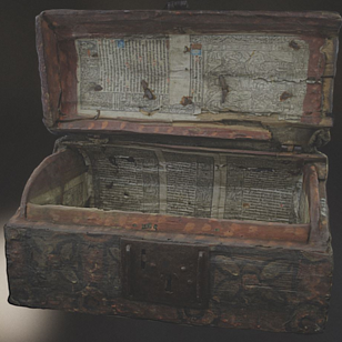 Stirling Burgh Box, lined with a Book of Hours dating to 1503 (Stirling Smith Art Gallery and Museum)