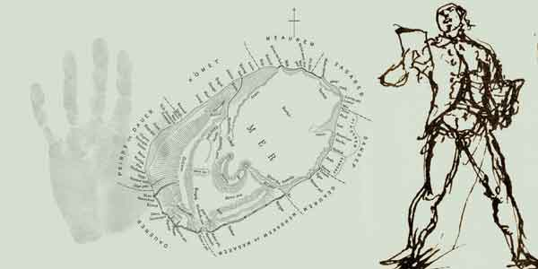 A collage of an Inigo Jones sketch, a hand print and a map of Mabo's birth place Mer island (Murray Island)