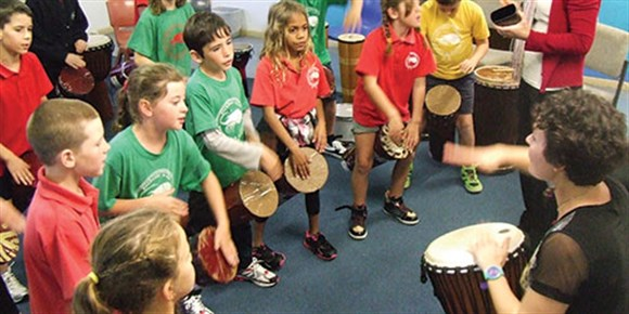 kids drumming at zest fest